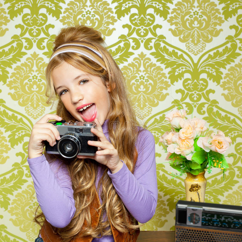 Download Hip Retro Little Girl Shooting On Vintage Camera Royalty Free Stock Photos - Image: 23149478