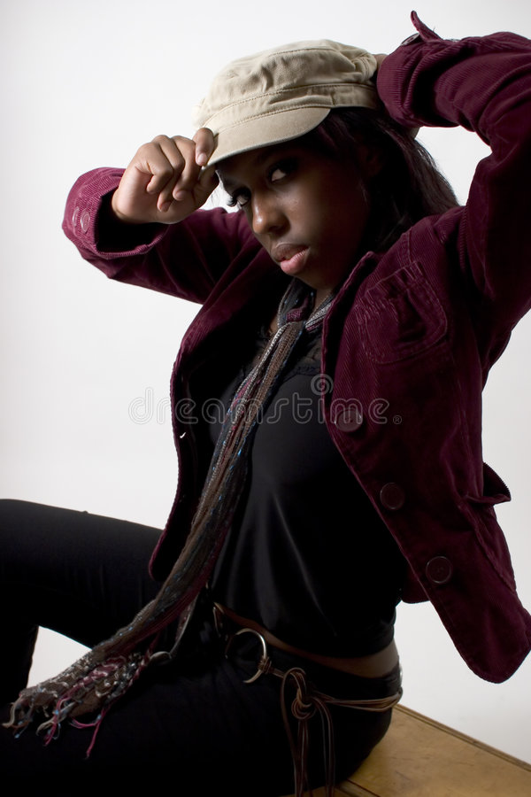 Hip young black woman (extreme lighting) stock images