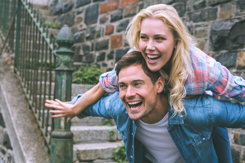 Hip young couple having fun royalty free stock images