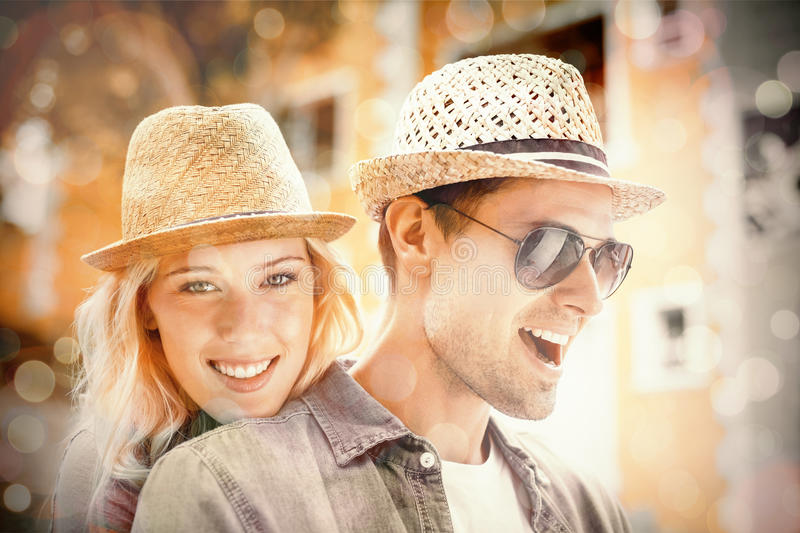 Hip young couple spending time together stock illustration