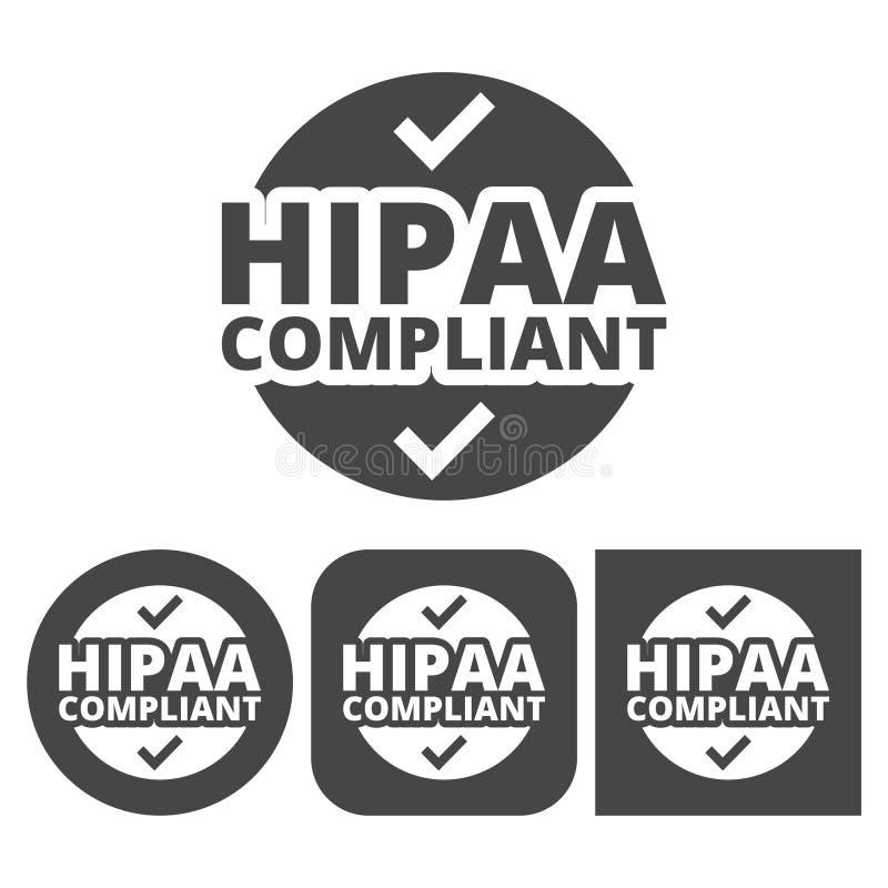 HIPAA徽章、健康保险轻便和责任行动-被设置的传染媒介象 向量例证