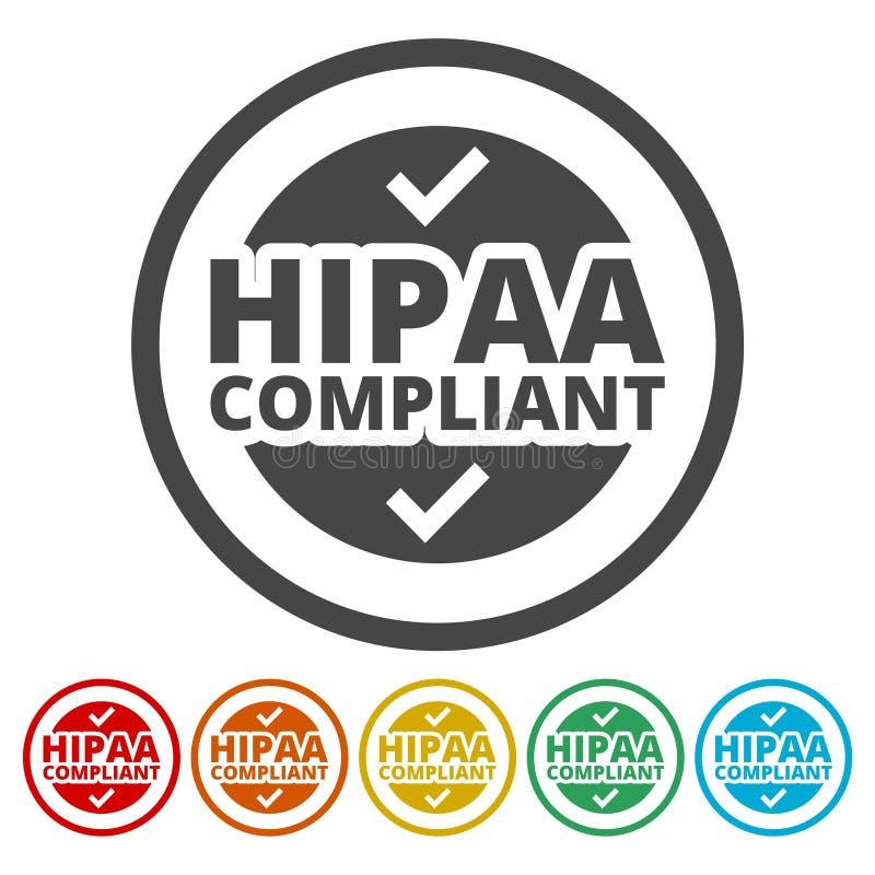 HIPAA徽章-保险轻便和责任行动象集合 库存例证