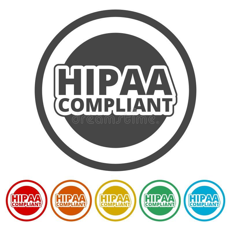 HIPAA徽章-保险轻便和责任行动象集合 皇族释放例证