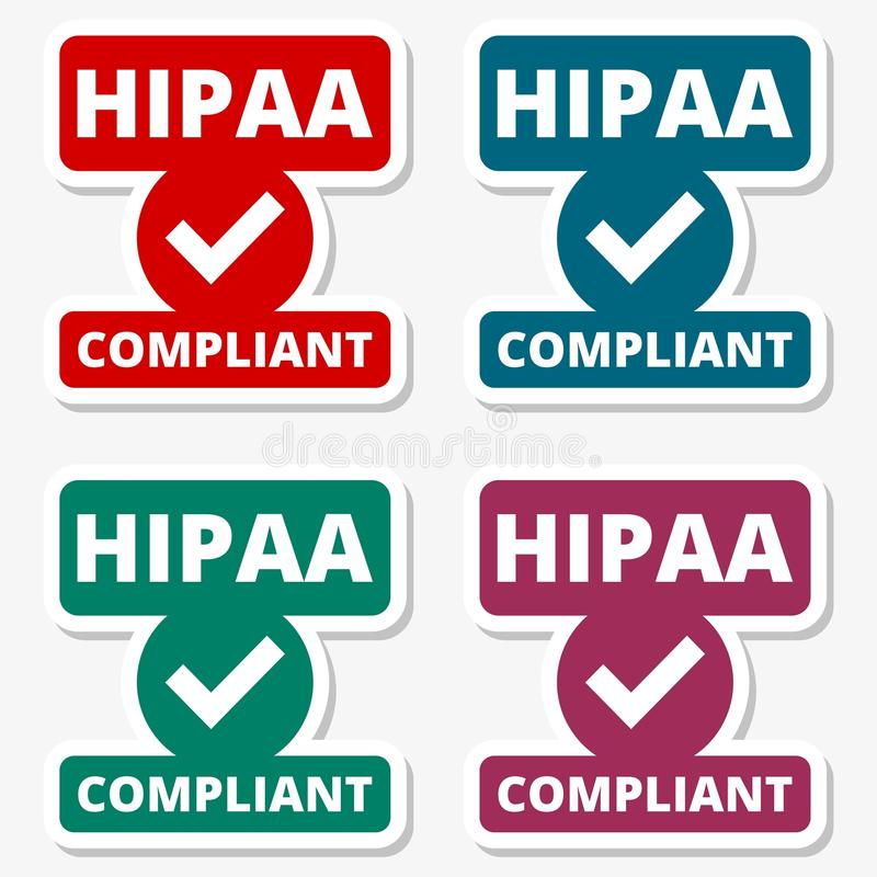 HIPAA徽章-健康保险轻便和责任被设置的行动贴纸 向量例证