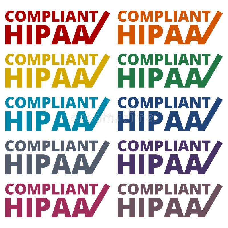 HIPAA - Ícones do ato da mobilidade e da responsabilidade do seguro de saúde ajustados ilustração stock