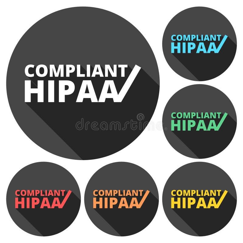 HIPAA - Ícones do ato da mobilidade e da responsabilidade do seguro de saúde ajustados com sombra longa ilustração royalty free