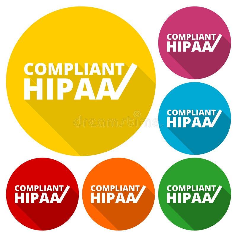 HIPAA - Ícones do ato da mobilidade e da responsabilidade do seguro de saúde ajustados com sombra longa ilustração do vetor