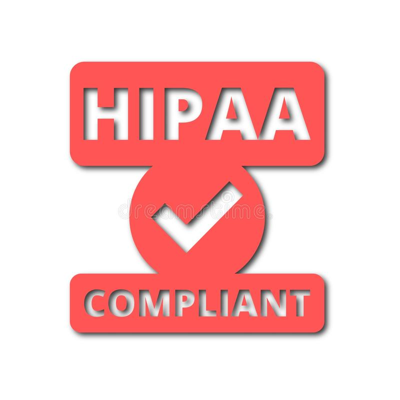 HIPAA badge - Health Insurance Portability and Accountability Act icons set with long shadow. HIPAA badge - Health Insurance Portability and Accountability Act stock illustration