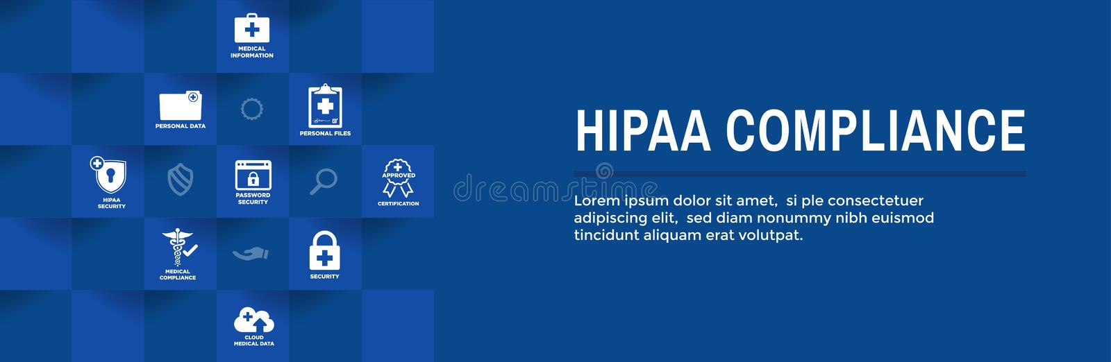 HIPAA Compliance Web Banner Header - Medical Icon Set and text stock illustration