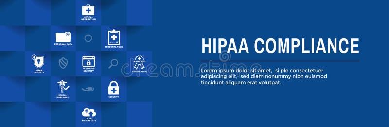 HIPAA-de Bannerkopbal van het Nalevingsweb - Medische Pictogramreeks en tekst stock illustratie