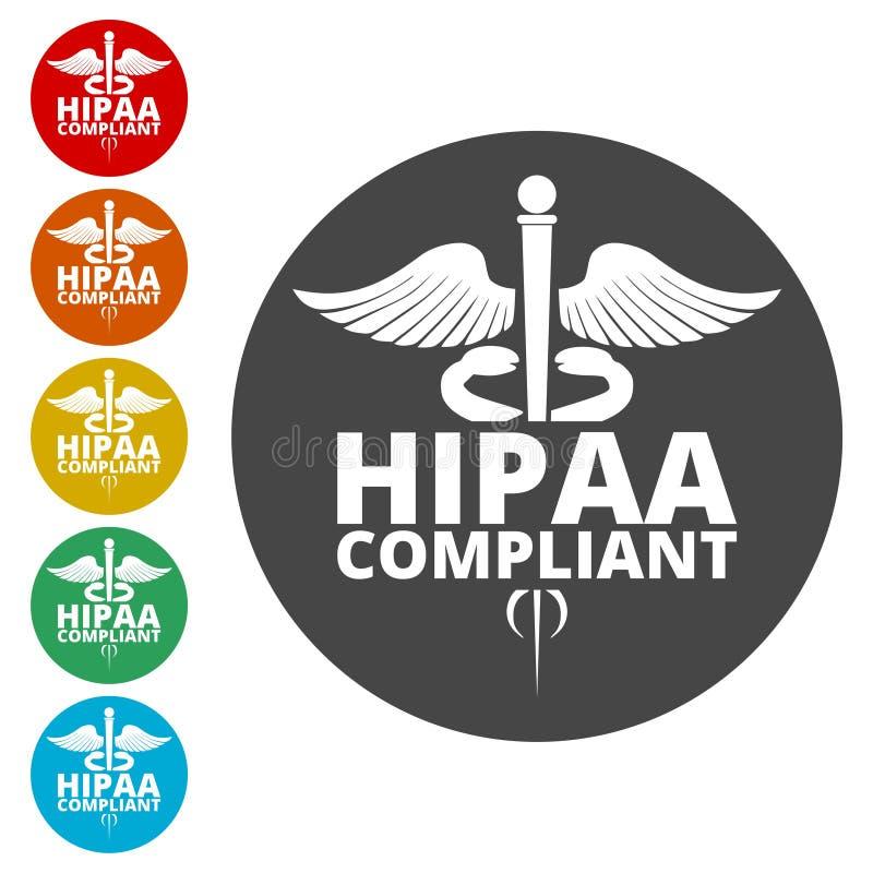 HIPAA - Mobilidade do seguro de saúde e ícone do ato da responsabilidade ilustração stock