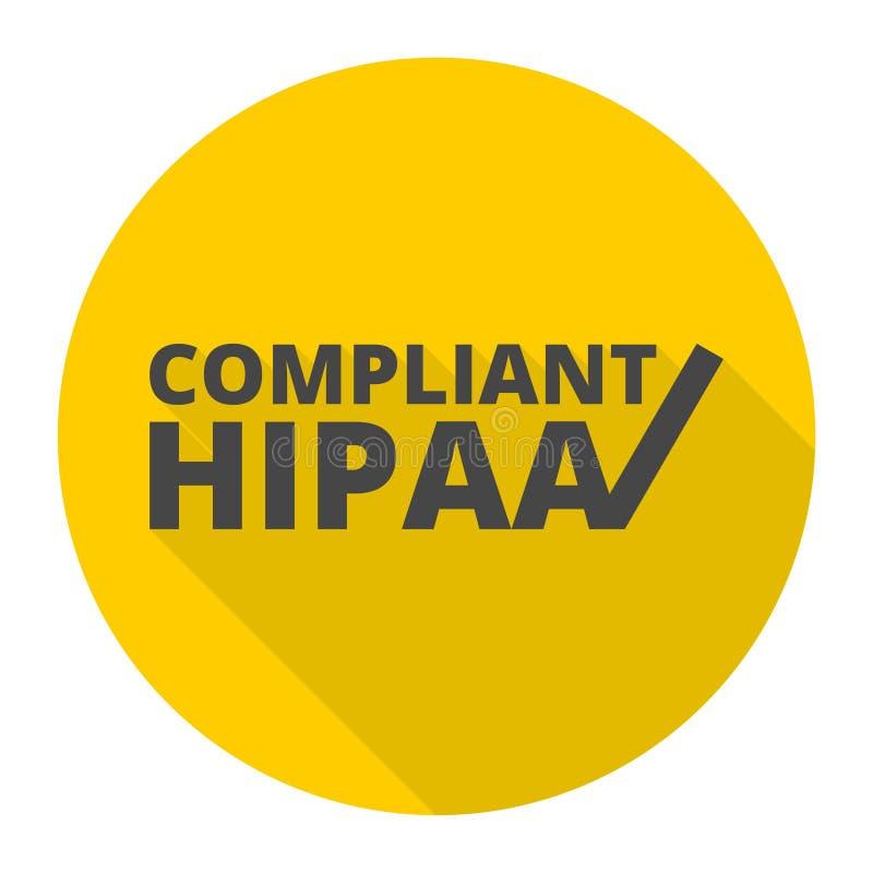 HIPAA - Mobilidade do seguro de saúde e ícone do ato da responsabilidade com sombra longa ilustração do vetor