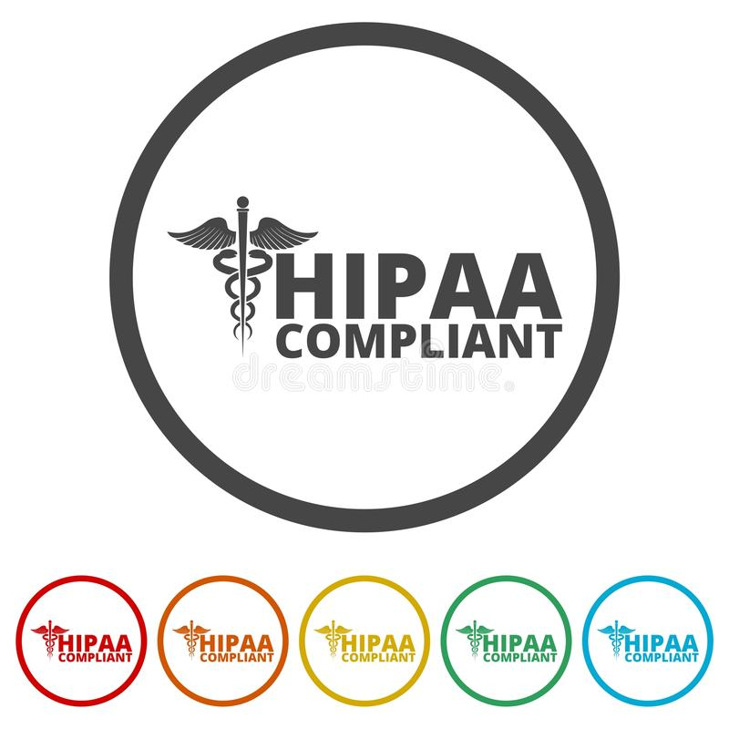 HIPAA - Mobilidade do seguro de saúde e ícone do ato da responsabilidade, 6 cores incluídas ilustração do vetor