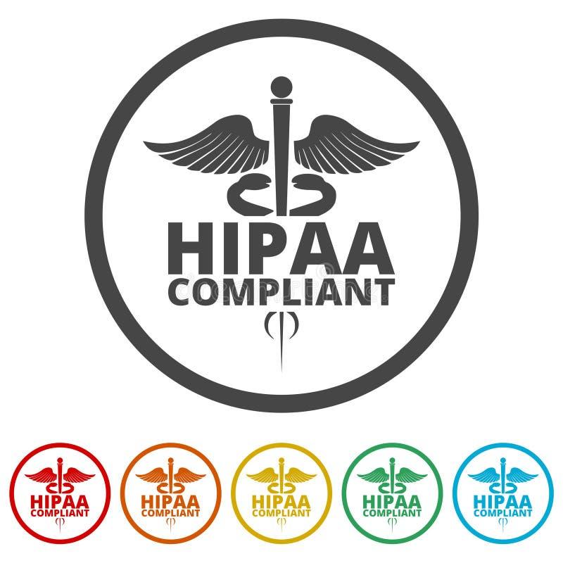 HIPAA - Mobilidade do seguro de saúde e ícone do ato da responsabilidade, 6 cores incluídas ilustração royalty free