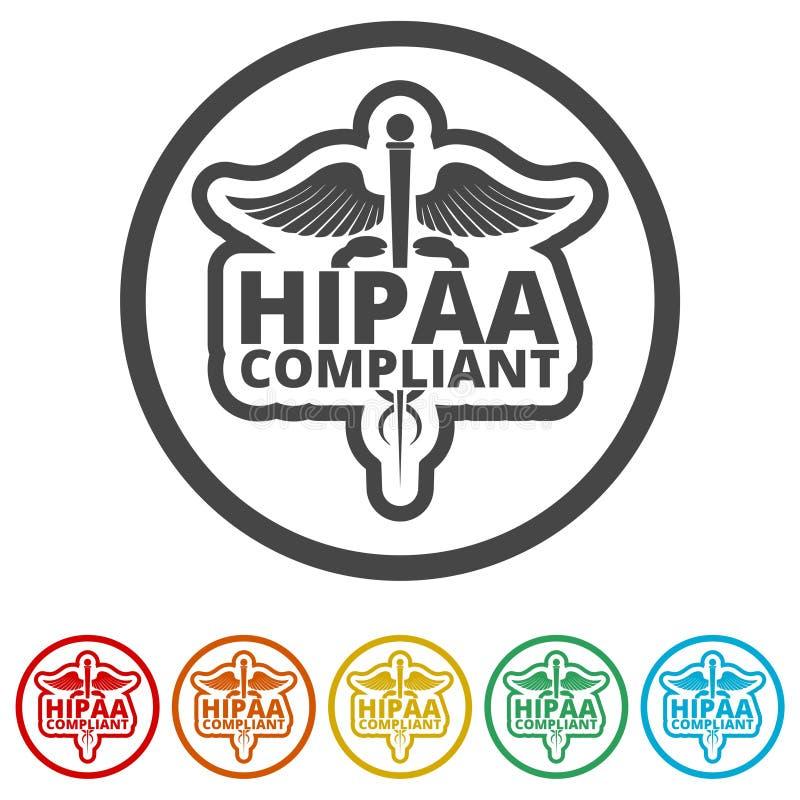 HIPAA - Mobilidade do seguro de saúde e ícone do ato da responsabilidade, 6 cores incluídas ilustração stock