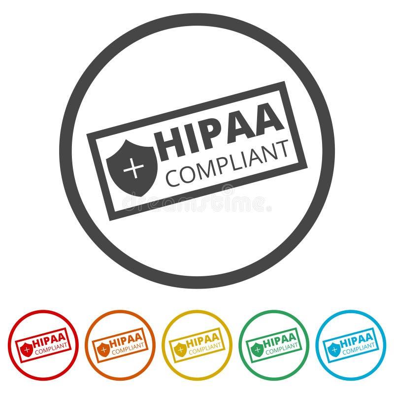HIPAA-Nalevingspictogram, 6 Inbegrepen Kleuren stock illustratie