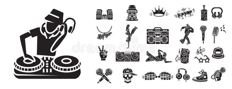 Hiphop ikony ustawiać, prosty styl ilustracji