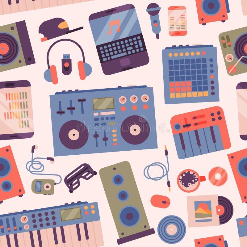 Hiphop of van DJ bijkomende expressieve breakdance van musicusinstrumenten vector illustratie