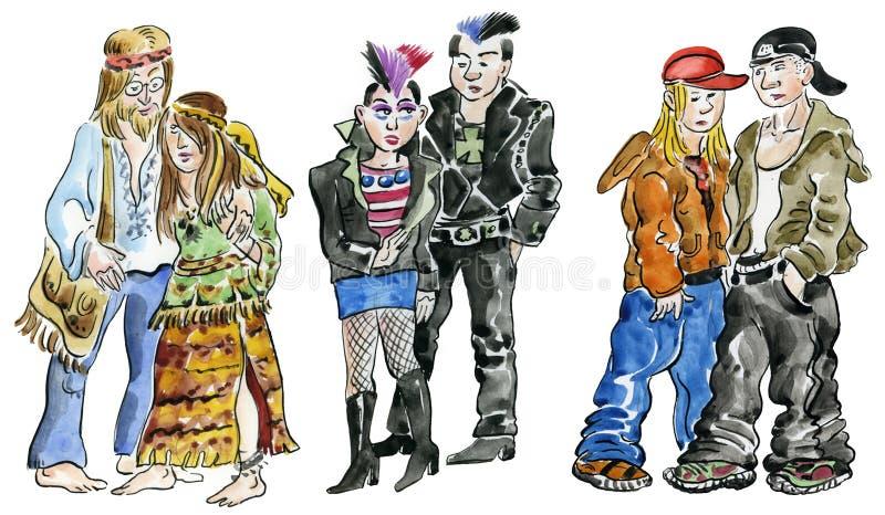Hipisów ruch punków i skały wiek dojrzewania, ilustracji