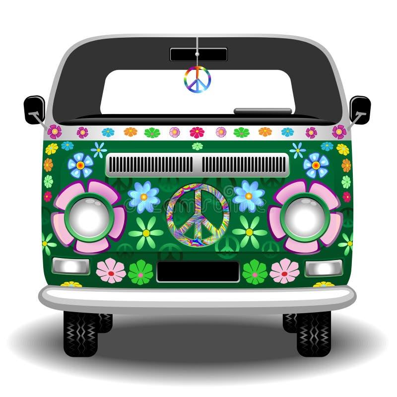 Hipis Groovy Van Autobus Pokój i miłość pojazdu wektoru Retro ilustracja ilustracji