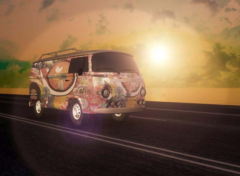 Hipis Van na drodze zdjęcia royalty free