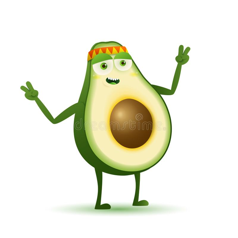 Hipisa avocado zieleni charakter ilustracji