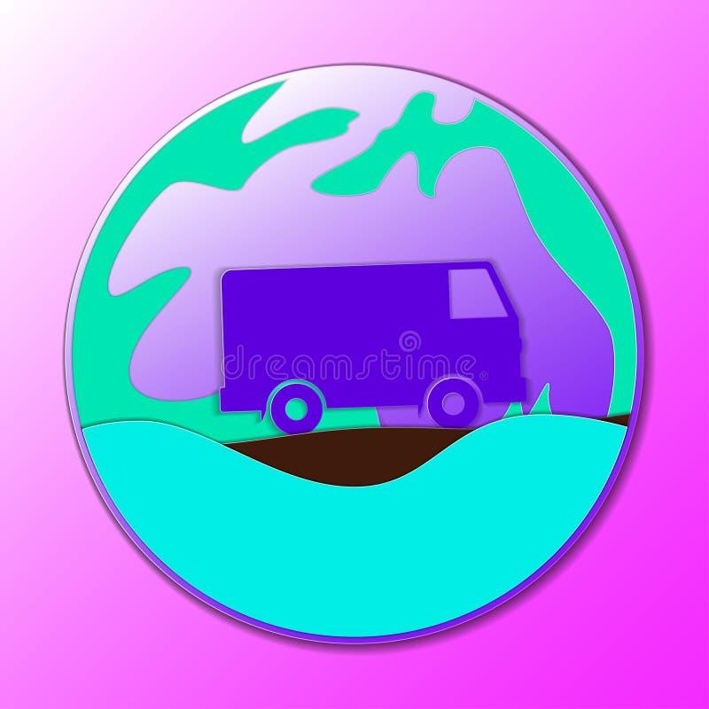 Hipisa rocznika samochód mini samochód dostawczy Ornamentacyjna ikona Hipisa koloru wektoru ilustracja royalty ilustracja