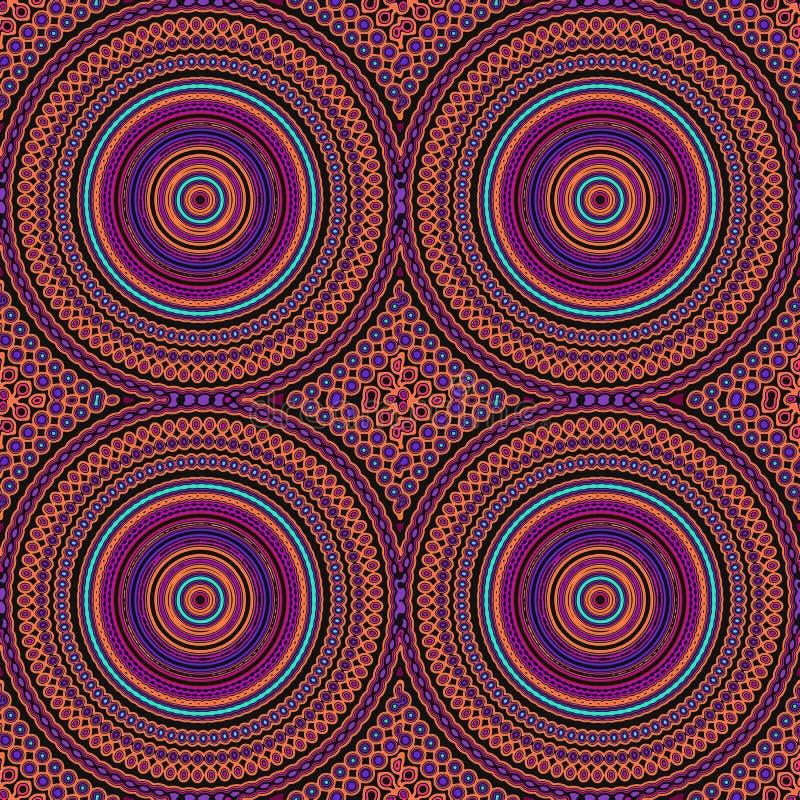 Hipisa Stylowy mandala wzoru Bezszwowa płytka W pomarańcze i purpurach obraz royalty free