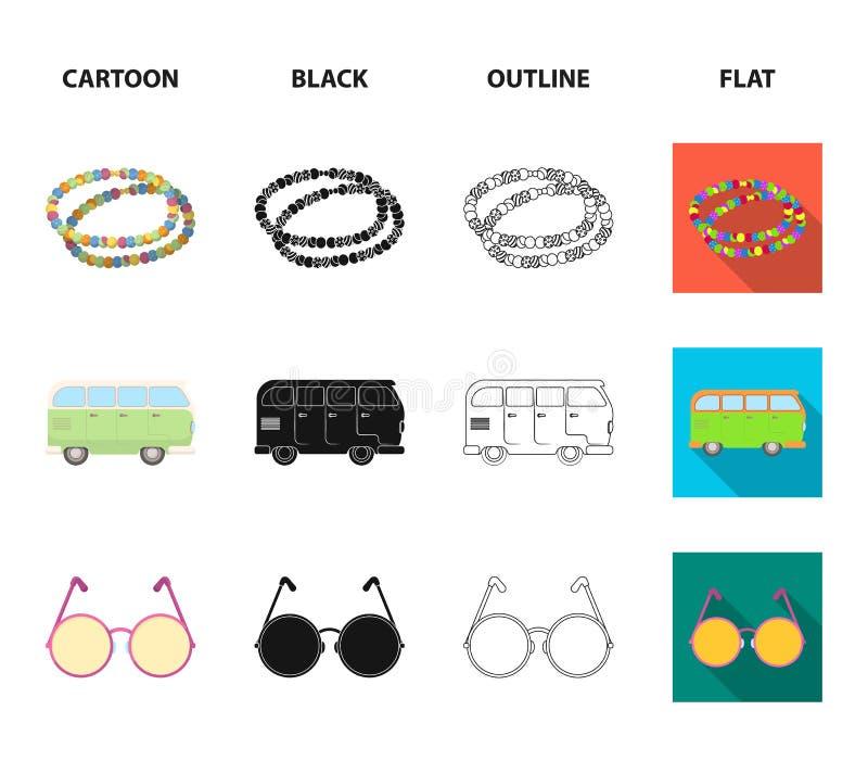 Hipisa znak, koraliki, autobus, round szkła Hipis ustalone inkasowe ikony w kreskówce, czerń, kontur, mieszkanie stylowy wektorow ilustracji