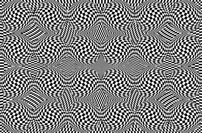 Hipnotyczny okulistyczny złudzenie w czarny i biały kolorze Wzroku 3D geometryczny tło Abstrakcjonistyczny wzrokowy nowożytny ksz fotografia royalty free