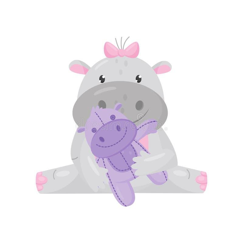 Hipopótamo adorável bonito com uma curva cor-de-rosa que senta-se e que joga com brinquedo, vetor animal do personagem de banda d ilustração stock