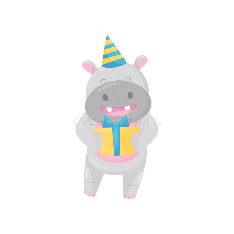 Hipopótamo adorável bonito na posição do chapéu do partido com caixa do GIF, ilustração animal do vetor do personagem de banda de ilustração stock