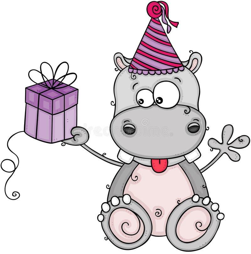 Hipopótamo bonito do aniversário que guarda um presente pequeno ilustração royalty free