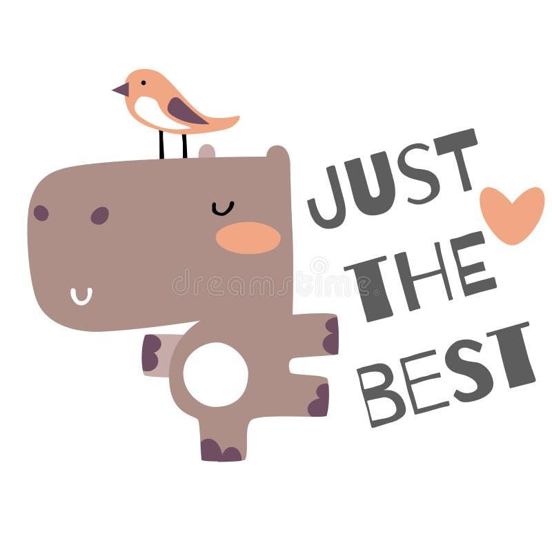 Hipopótamo bonito do bebê com ilustração do vetor do pássaro ilustração stock