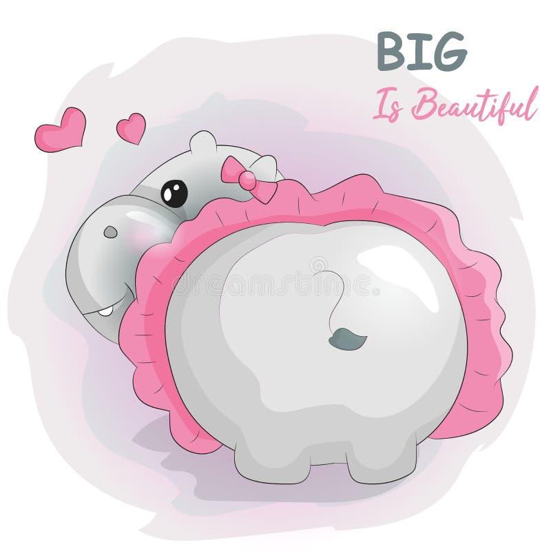 Hipopótamo bonito dos desenhos animados com tutu ilustração do vetor
