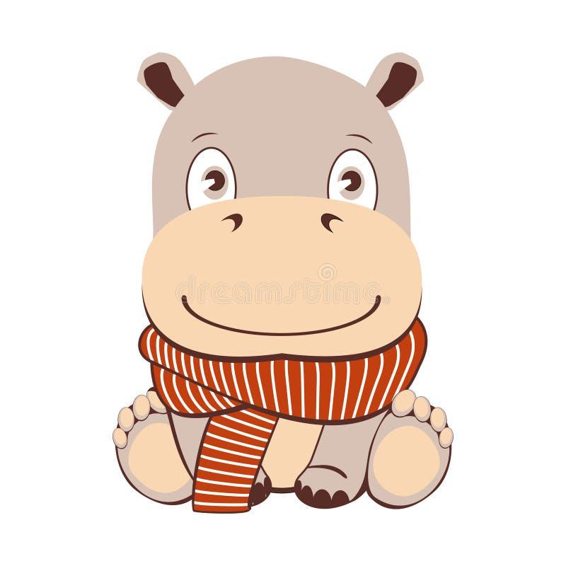 Hipopótamo bonito dos desenhos animados no estilo do kawaii Isolado no fundo branco ilustração stock