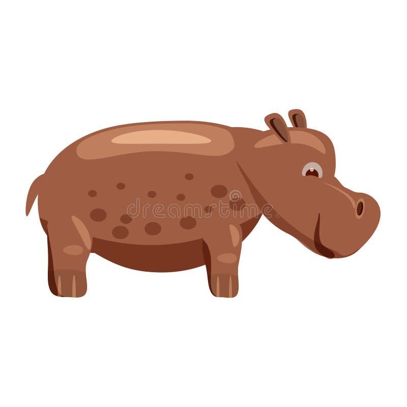 Hipopótamo bonito, gigante, hipopótamo, animal, tendência, estilo dos desenhos animados, vetor, ilustração, isolada no fundo bran ilustração do vetor