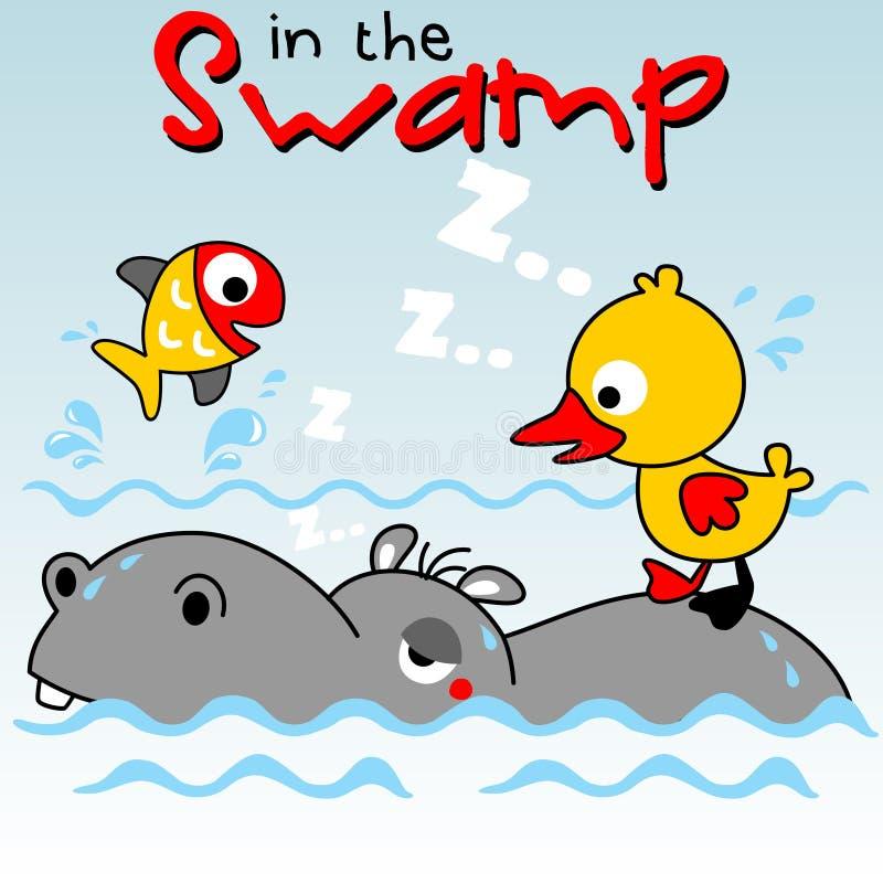 Hipopótamo com os amigos pequenos no pântano ilustração stock