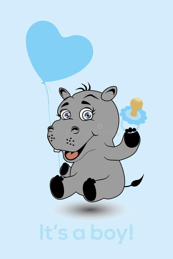 Hipopótamo como um bebê com balão, chupeta e texto do coração é um menino ilustração royalty free