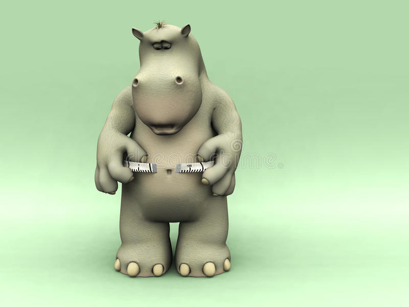Hipopótamo dado una sacudida eléctrica de la historieta que mide su cintura. libre illustration