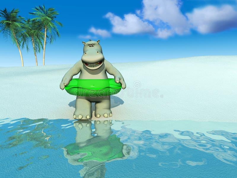 Hipopótamo de la historieta en la playa. ilustración del vector