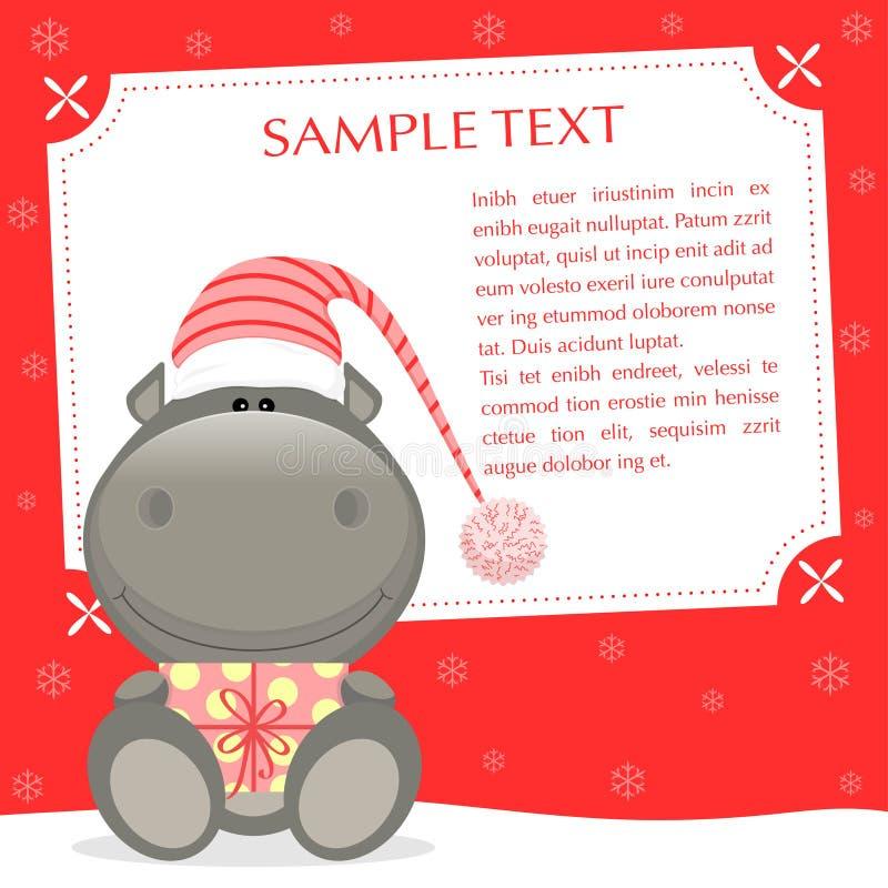 Hipopótamo de Navidad stock de ilustración