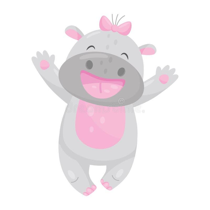 Hipopótamo de sorriso bonito com uma curva cor-de-rosa que tem o divertimento, ilustração animal do vetor do personagem de banda  ilustração stock
