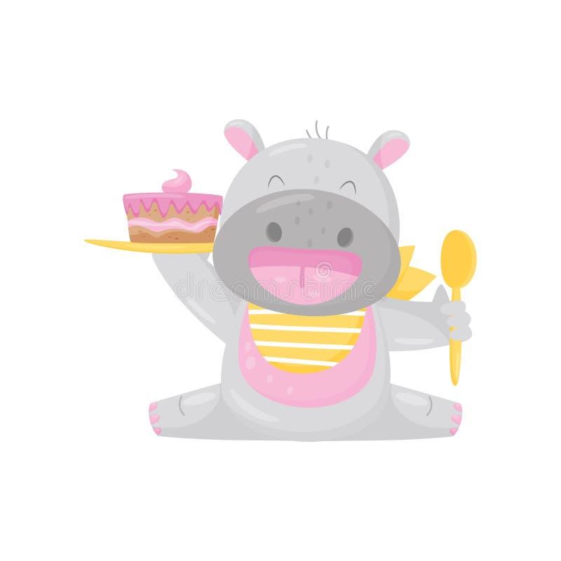 Hipopótamo de sorriso bonito em um babador que come o bolo com colher, ilustração animal do vetor do personagem de banda desenhad ilustração stock