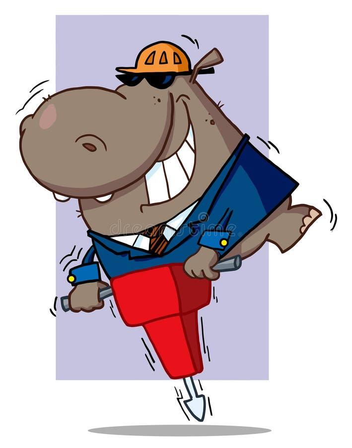 Hipopótamo del trabajador de construcción ilustración del vector