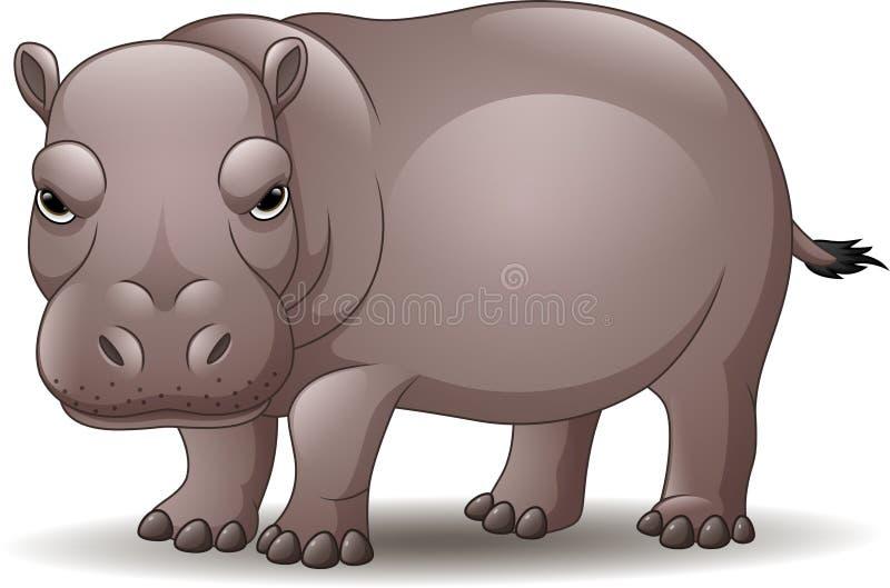 Hipopótamo divertido de la historieta aislado en el fondo blanco libre illustration