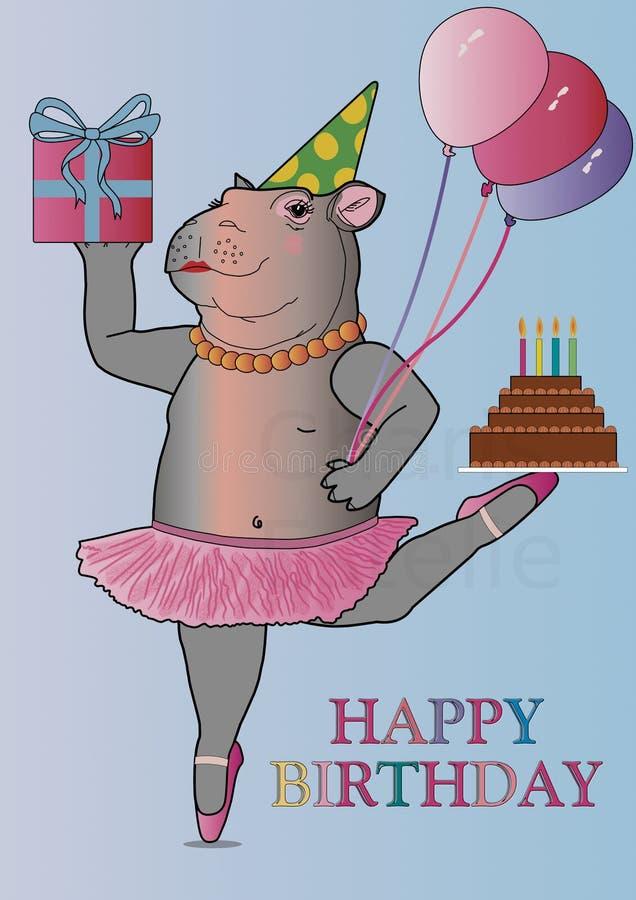 Hipopótamo do aniversário do cartão no bailado do exercicio de equilibrio ilustração stock