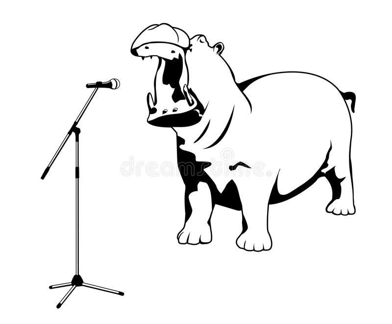 Hipopótamo do canto ilustração royalty free