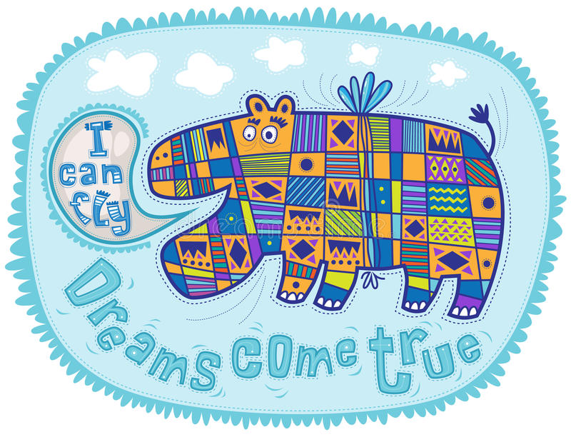 Hipopótamo do voo ilustração royalty free