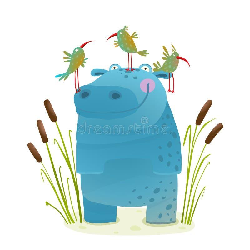 Hipopótamo dos animais selvagens com os amigos de sorriso das crianças dos pássaros bonitos ilustração stock
